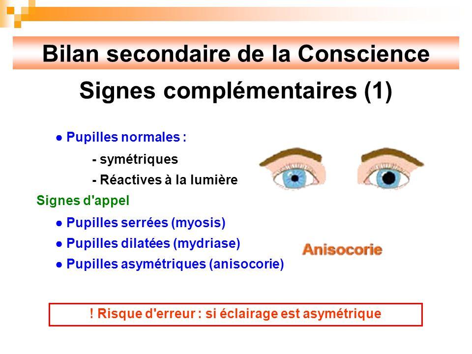 Bilan secondaire de la Conscience Signes complémentaires (1) Pupilles normales : - symétriques - Réactives à la lumière Signes d appel Pupilles serrées (myosis) Pupilles dilatées (mydriase) Pupilles asymétriques (anisocorie) .