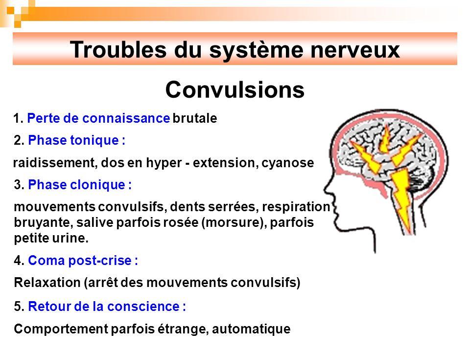 Troubles du système nerveux Convulsions 1.Perte de connaissance brutale 2.