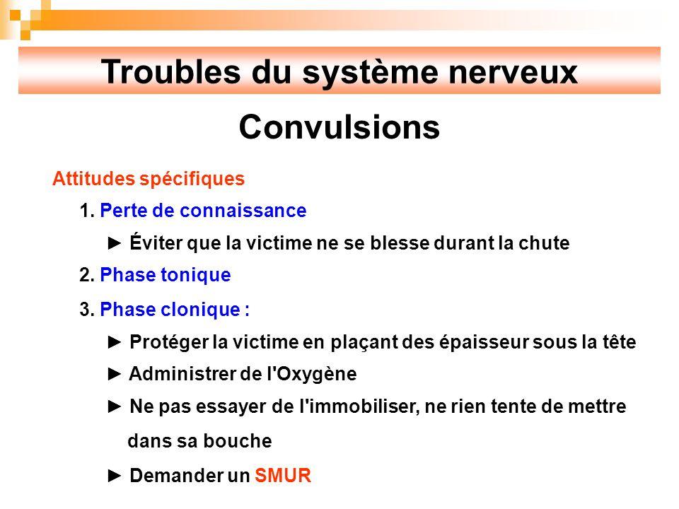 Troubles du système nerveux Convulsions Attitudes spécifiques 1.