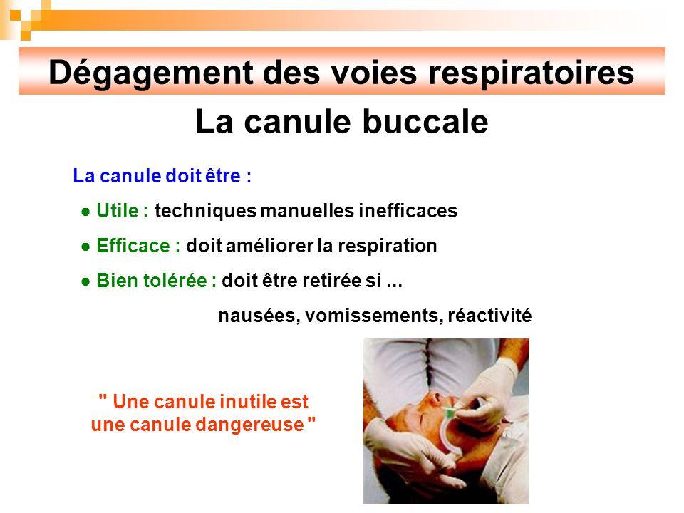 Dégagement des voies respiratoires La canule buccale La canule doit être : Utile : techniques manuelles inefficaces Efficace : doit améliorer la respiration Bien tolérée : doit être retirée si...