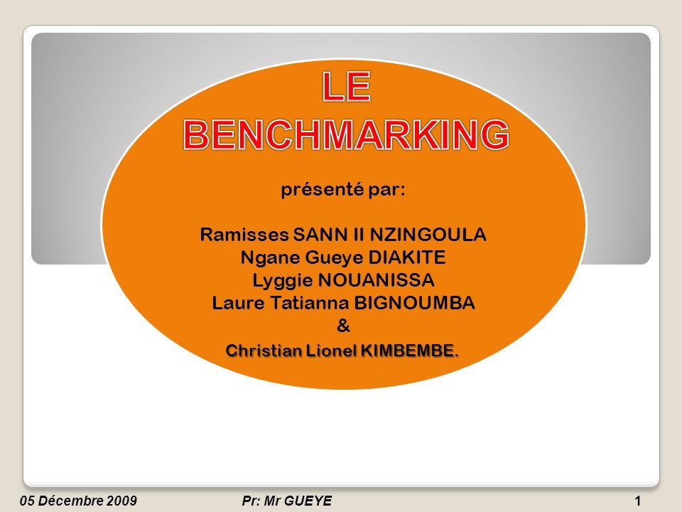 Professeur: Mr GUEYE2 Définition Définition Utilité du Benchmarking Utilité du Benchmarking Méthodes de pratique du Benchmarking Méthodes de pratique du Benchmarking Types de Benchmarking Types de Benchmarking Freins à lutilisation du Benchmarking Freins à lutilisation du Benchmarking Conclusion.