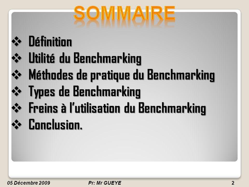 Professeur: Mr GUEYE2 Définition Définition Utilité du Benchmarking Utilité du Benchmarking Méthodes de pratique du Benchmarking Méthodes de pratique