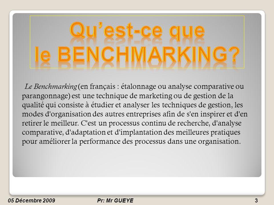A) Planification: Identifier les sujets du benchmarking; Sélectionner les partenaires du benchmarking; Déterminer les moyens de collecte d information.
