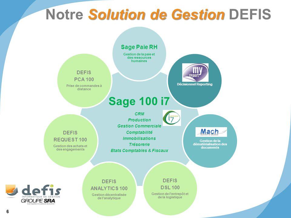 6 © 2011 SRA Informatique Solution de Gestion Notre Solution de Gestion DEFIS Sage 100 i7 CRM Production Gestion Commerciale Comptabilité Immobilisati