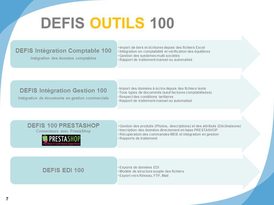 7 © 2011 SRA Informatique DEFIS OUTILS 100 Import de tiers et écritures depuis des fichiers Excel Intégration en comptabilité et vérification des équi