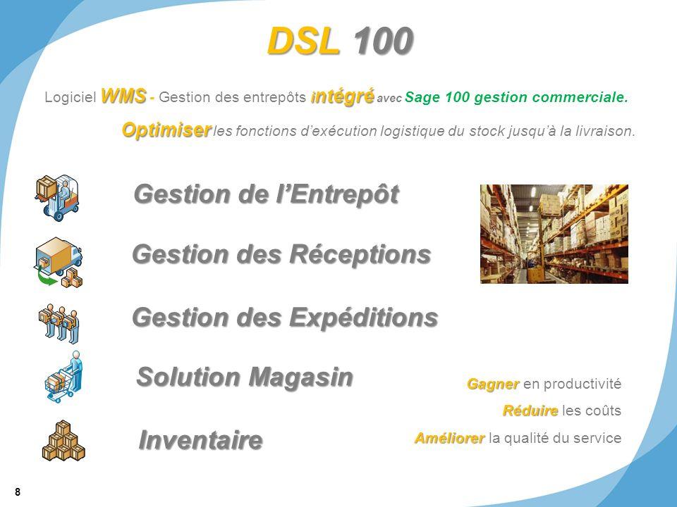 8 © 2011 SRA Informatique DSL 100 Gestion de lEntrepôt Gestion des Réceptions Gestion des Expéditions Inventaire Solution Magasin WMS i ntégré Logicie