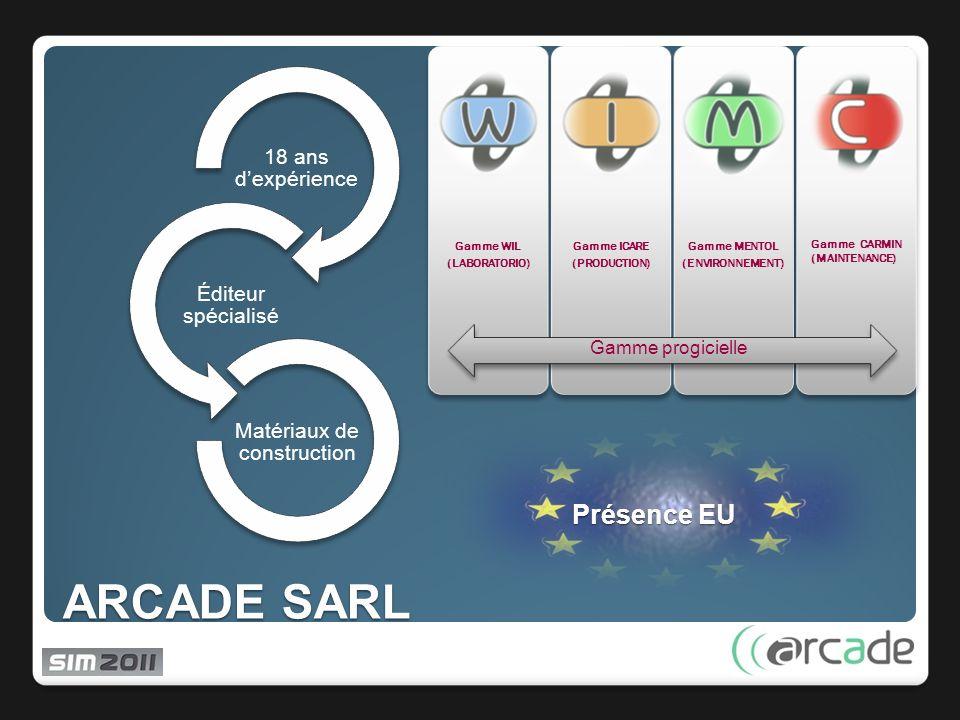 ARCADE SARL Gamme WIL (LABORATORIO) Gamme ICARE (PRODUCTION) Gamme MENTOL (ENVIRONNEMENT) 18 ans dexpérience Éditeur spécialisé Matériaux de construction Gamme progicielle Gamme CARMIN (MAINTENANCE) Présence EU