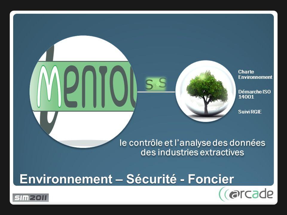 Environnement – Sécurité - Foncier le contrôle et lanalyse des données des industries extractives Charte Environnement Démarche ISO 14001 Suivi RGIE