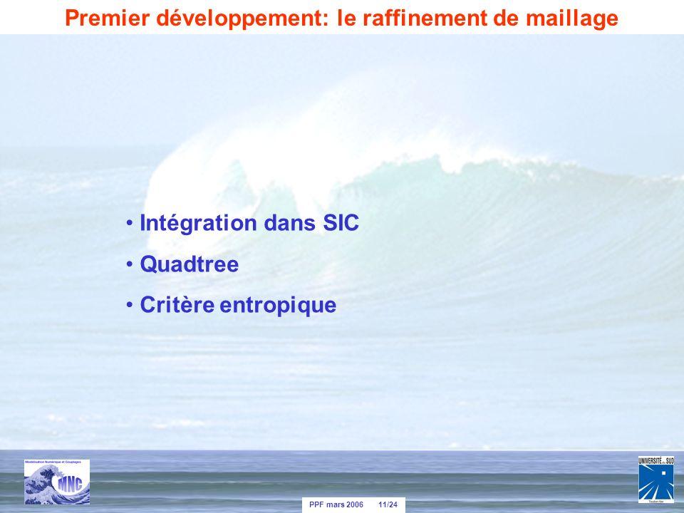 PPF mars 2006 11/24 Intégration dans SIC Quadtree Critère entropique Premier développement: le raffinement de maillage