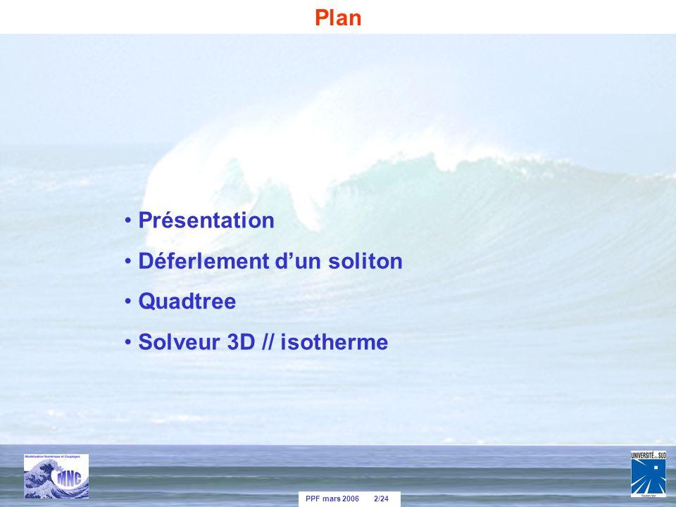 PPF mars 2006 2/24 Présentation Déferlement dun soliton Quadtree Solveur 3D // isotherme Plan