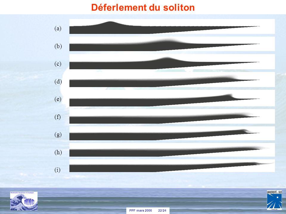 PPF mars 2006 22/24 (a) (b) (c) (d) (e) (f) (g) (h) (i) Déferlement du soliton