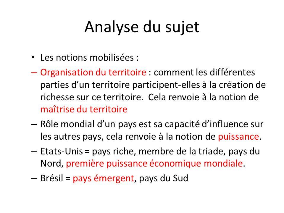 Analyse du sujet Les notions mobilisées : – Organisation du territoire : comment les différentes parties dun territoire participent-elles à la création de richesse sur ce territoire.