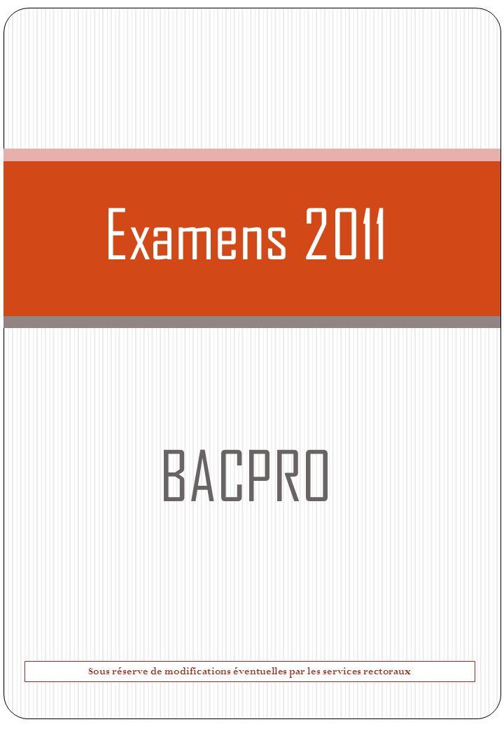 Examens 2011 BACPRO Sous réserve de modifications éventuelles par les services rectoraux
