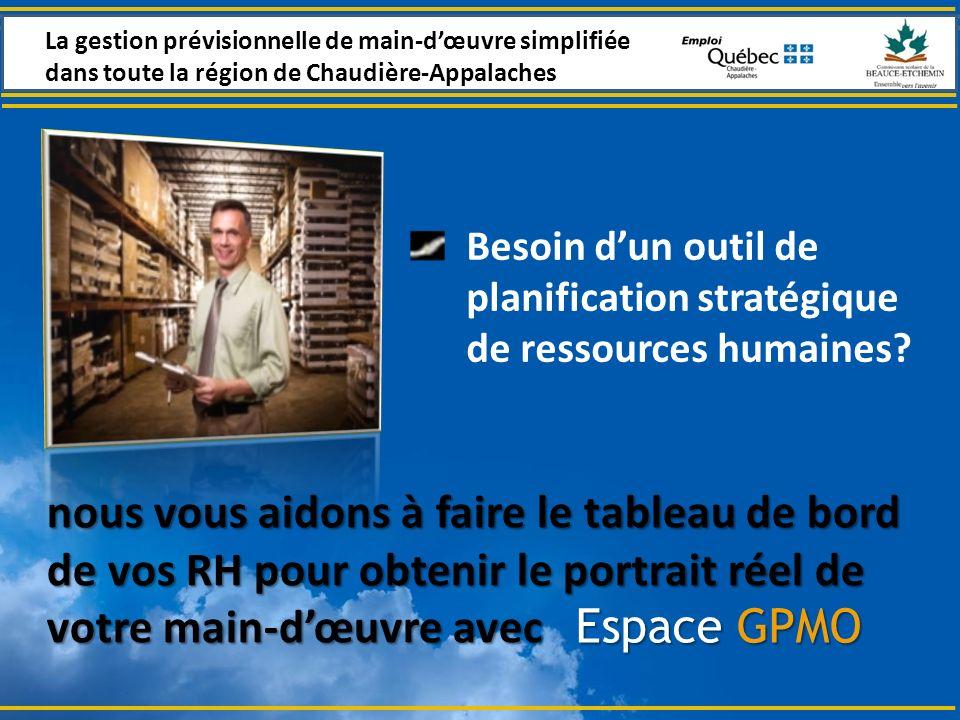 Espace GPMO Besoin dun outil de planification stratégique de ressources humaines.