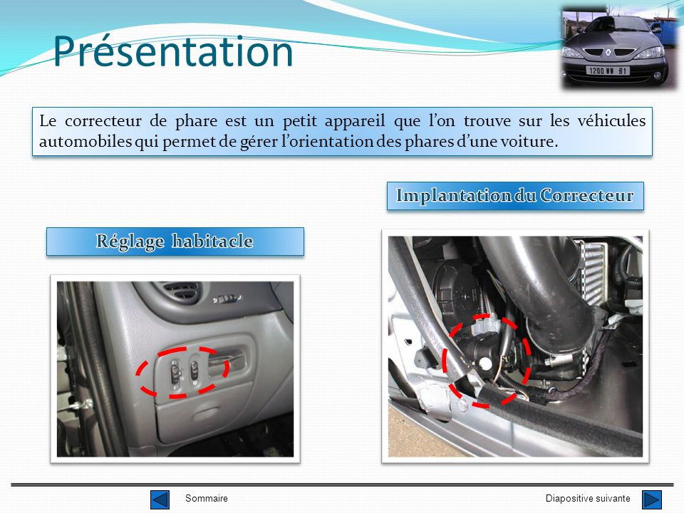 Présentation Le correcteur de phare est un petit appareil que lon trouve sur les véhicules automobiles qui permet de gérer lorientation des phares dune voiture.