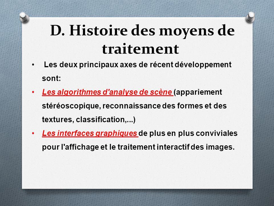 D. Histoire des moyens de traitement Les deux principaux axes de récent développement sont: Les algorithmes d'analyse de scène (appariement stéréoscop
