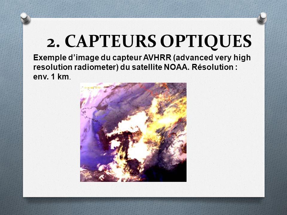 2. CAPTEURS OPTIQUES Exemple dimage du capteur AVHRR (advanced very high resolution radiometer) du satellite NOAA. Résolution : env. 1 km.