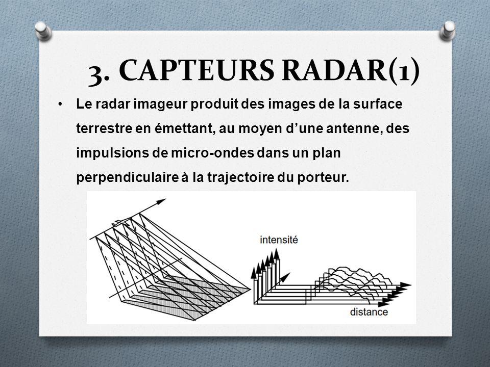 3. CAPTEURS RADAR(1) Le radar imageur produit des images de la surface terrestre en émettant, au moyen dune antenne, des impulsions de micro-ondes dan