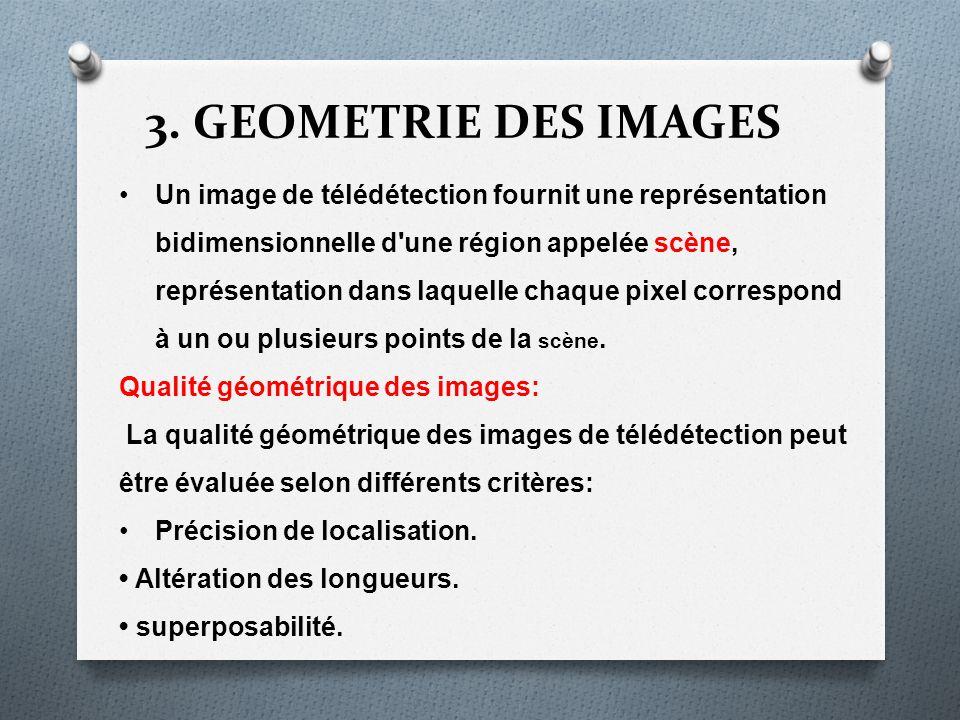3. GEOMETRIE DES IMAGES Un image de télédétection fournit une représentation bidimensionnelle d'une région appelée scène, représentation dans laquelle