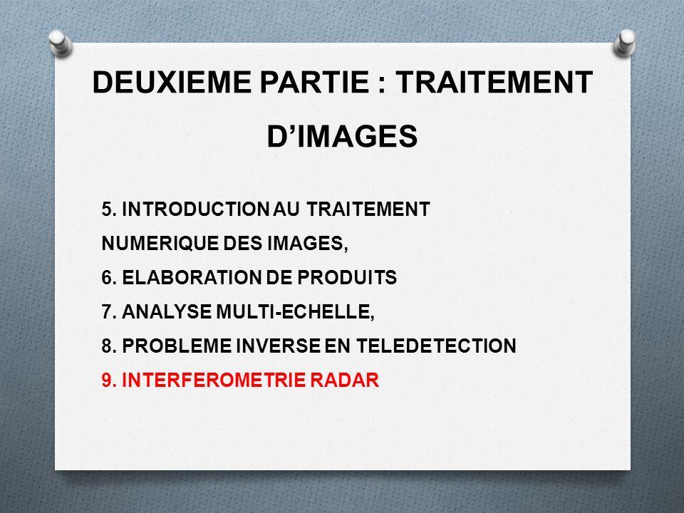 DEUXIEME PARTIE : TRAITEMENT DIMAGES 5. INTRODUCTION AU TRAITEMENT NUMERIQUE DES IMAGES, 6. ELABORATION DE PRODUITS 7. ANALYSE MULTI-ECHELLE, 8. PROBL