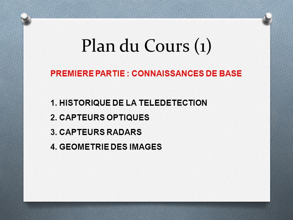 Plan du Cours (1) PREMIERE PARTIE : CONNAISSANCES DE BASE 1. HISTORIQUE DE LA TELEDETECTION 2. CAPTEURS OPTIQUES 3. CAPTEURS RADARS 4. GEOMETRIE DES I