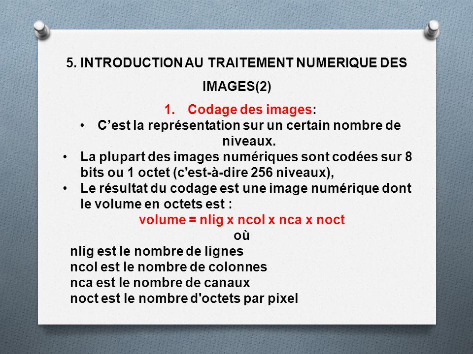 5. INTRODUCTION AU TRAITEMENT NUMERIQUE DES IMAGES(2) 1.Codage des images: Cest la représentation sur un certain nombre de niveaux. La plupart des ima