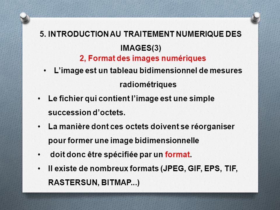 5. INTRODUCTION AU TRAITEMENT NUMERIQUE DES IMAGES(3) 2, Format des images numériques Limage est un tableau bidimensionnel de mesures radiométriques L
