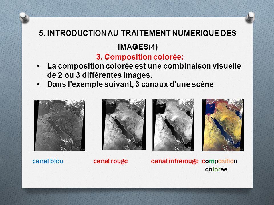 5. INTRODUCTION AU TRAITEMENT NUMERIQUE DES IMAGES(4) 3. Composition colorée: La composition colorée est une combinaison visuelle de 2 ou 3 différente