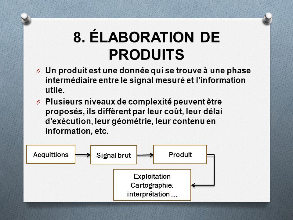 8. ÉLABORATION DE PRODUITS O Un produit est une donnée qui se trouve à une phase intermédiaire entre le signal mesuré et l'information utile. O Plusie