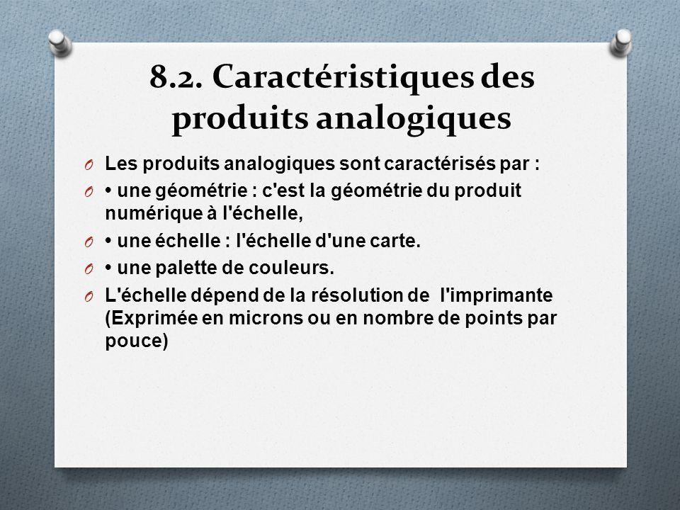 8.2. Caractéristiques des produits analogiques O Les produits analogiques sont caractérisés par : O une géométrie : c'est la géométrie du produit numé