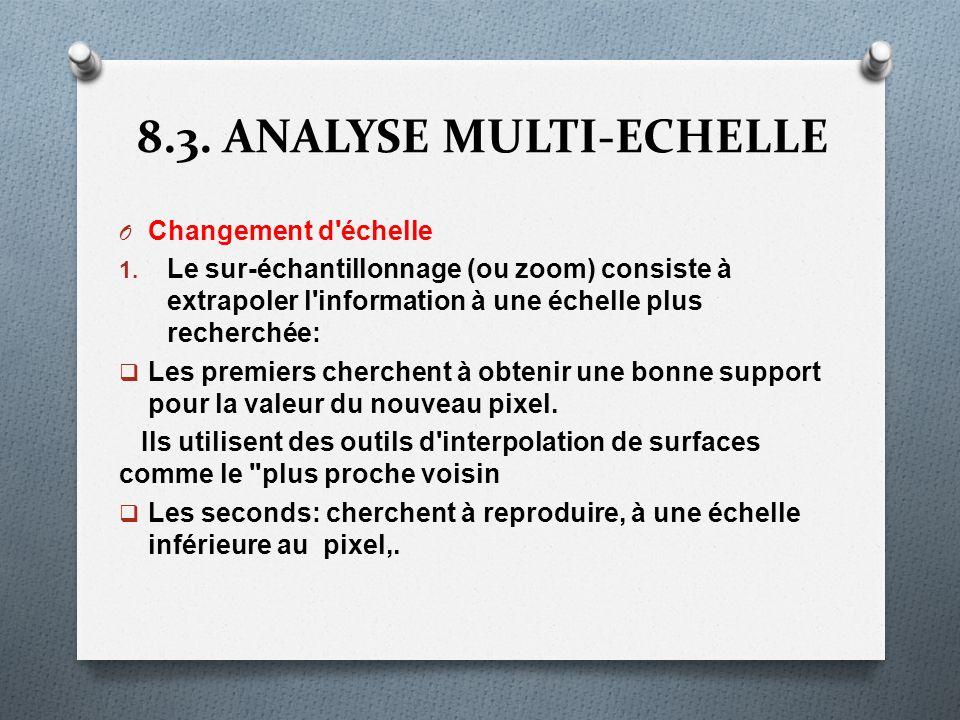 8.3. ANALYSE MULTI-ECHELLE O Changement d'échelle 1. Le sur-échantillonnage (ou zoom) consiste à extrapoler l'information à une échelle plus recherché