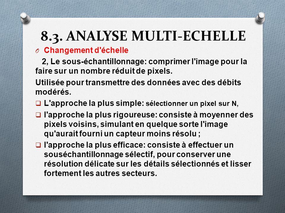 8.3. ANALYSE MULTI-ECHELLE O Changement d'échelle 2, Le sous-échantillonnage: comprimer l'image pour la faire sur un nombre réduit de pixels. Utilisée