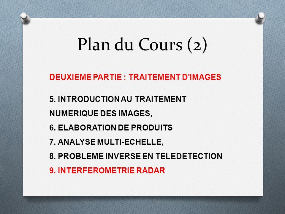 Plan du Cours (2) DEUXIEME PARTIE : TRAITEMENT D'IMAGES 5. INTRODUCTION AU TRAITEMENT NUMERIQUE DES IMAGES, 6. ELABORATION DE PRODUITS 7. ANALYSE MULT