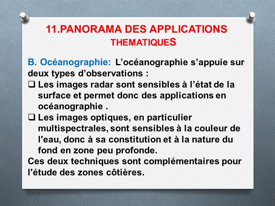 B. Océanographie: Locéanographie sappuie sur deux types dobservations : Les images radar sont sensibles à létat de la surface et permet donc des appli