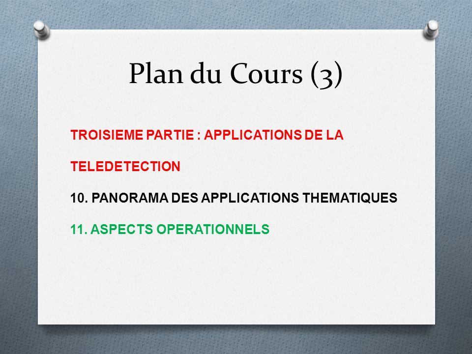 Plan du Cours (3) TROISIEME PARTIE : APPLICATIONS DE LA TELEDETECTION 10. PANORAMA DES APPLICATIONS THEMATIQUES 11. ASPECTS OPERATIONNELS