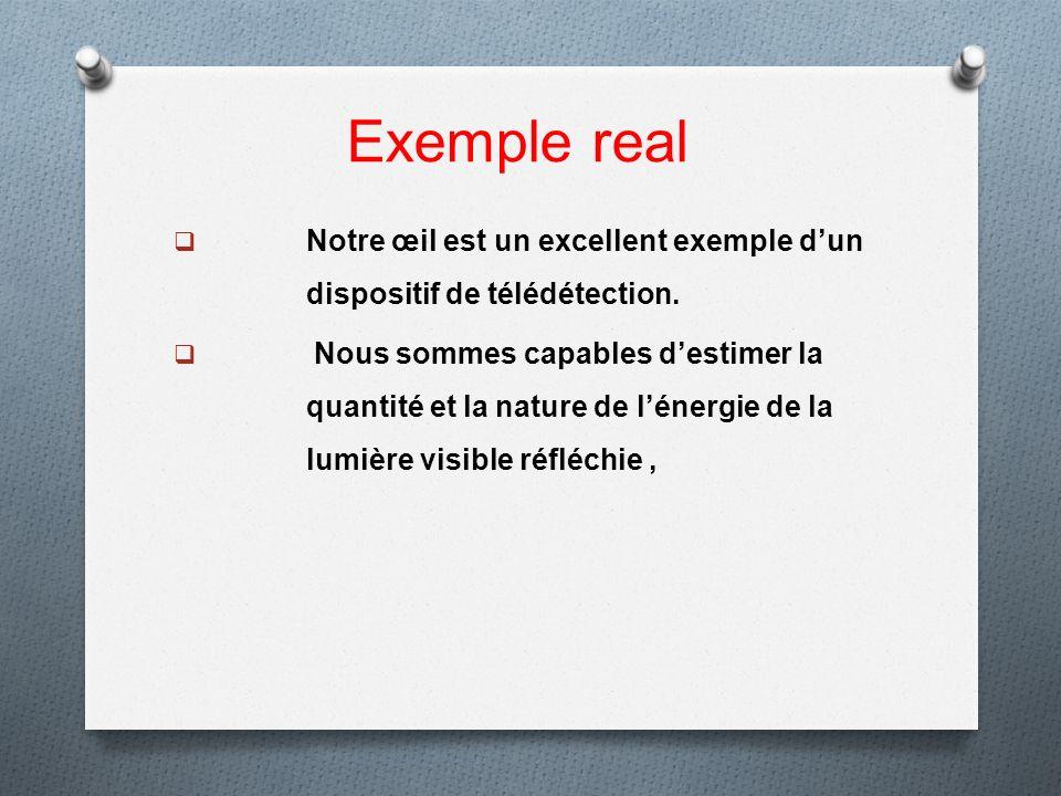 Exemple real Notre œil est un excellent exemple dun dispositif de télédétection. Nous sommes capables destimer la quantité et la nature de lénergie de