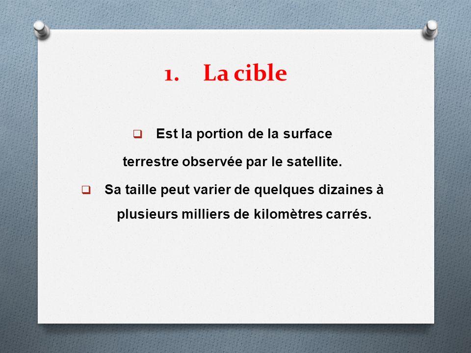 1.La cible Est la portion de la surface terrestre observée par le satellite. Sa taille peut varier de quelques dizaines à plusieurs milliers de kilomè