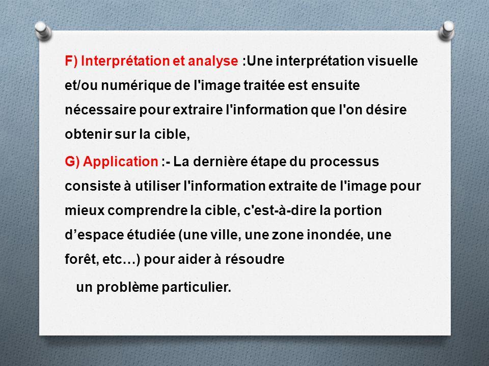 F) Interprétation et analyse :Une interprétation visuelle et/ou numérique de l'image traitée est ensuite nécessaire pour extraire l'information que l'