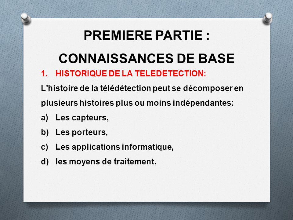 PREMIERE PARTIE : CONNAISSANCES DE BASE 1.HISTORIQUE DE LA TELEDETECTION: L'histoire de la télédétection peut se décomposer en plusieurs histoires plu