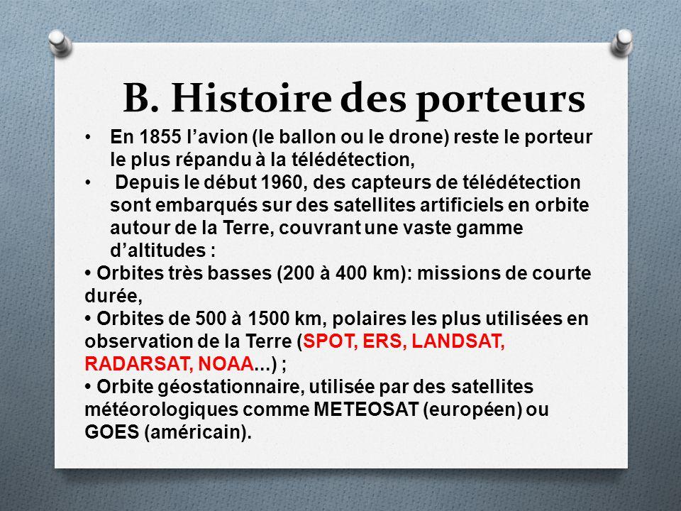 B. Histoire des porteurs En 1855 lavion (le ballon ou le drone) reste le porteur le plus répandu à la télédétection, Depuis le début 1960, des capteur