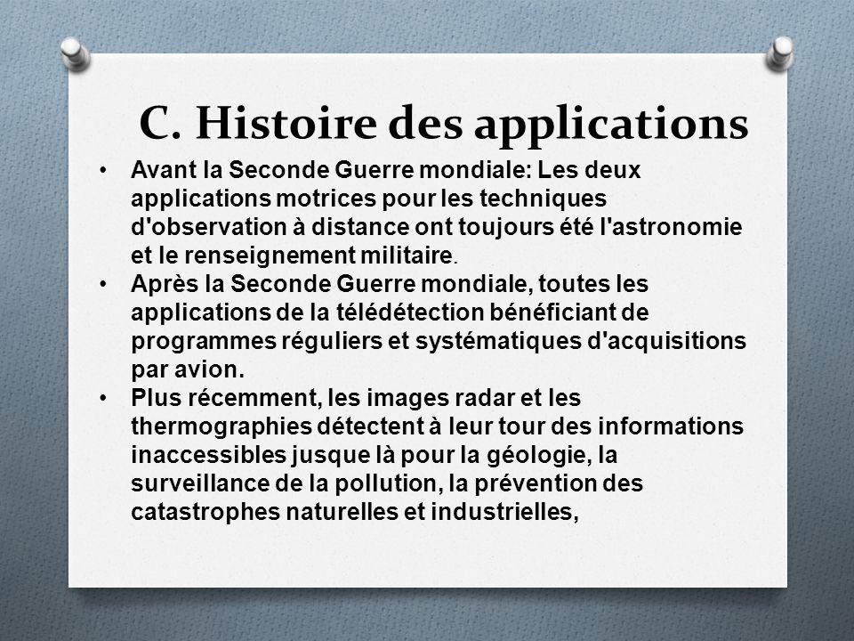 C. Histoire des applications Avant la Seconde Guerre mondiale: Les deux applications motrices pour les techniques d'observation à distance ont toujour