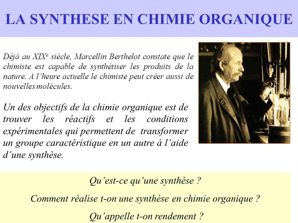 LA SYNTHESE EN CHIMIE ORGANIQUE Déjà au XIX e siècle, Marcellin Berthelot constate que le chimiste est capable de synthétiser les produits de la natur