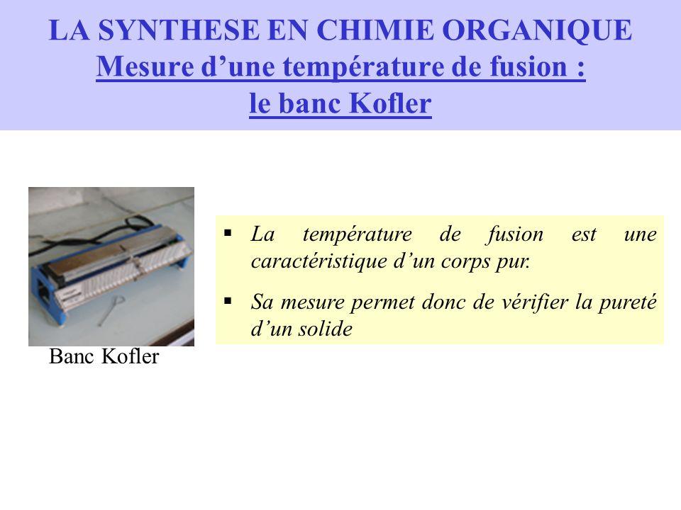 LA SYNTHESE EN CHIMIE ORGANIQUE Mesure dune température de fusion : le banc Kofler La température de fusion est une caractéristique dun corps pur. Sa