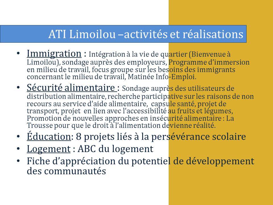 Immigration : Intégration à la vie de quartier (Bienvenue à Limoilou), sondage auprès des employeurs, Programme dimmersion en milieu de travail, focus groupe sur les besoins des immigrants concernant le milieu de travail, Matinée Info-Emploi.