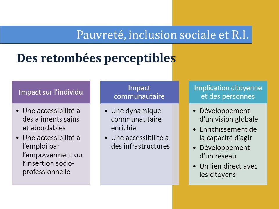 Des retombées perceptibles Pauvreté, inclusion sociale et R.I.