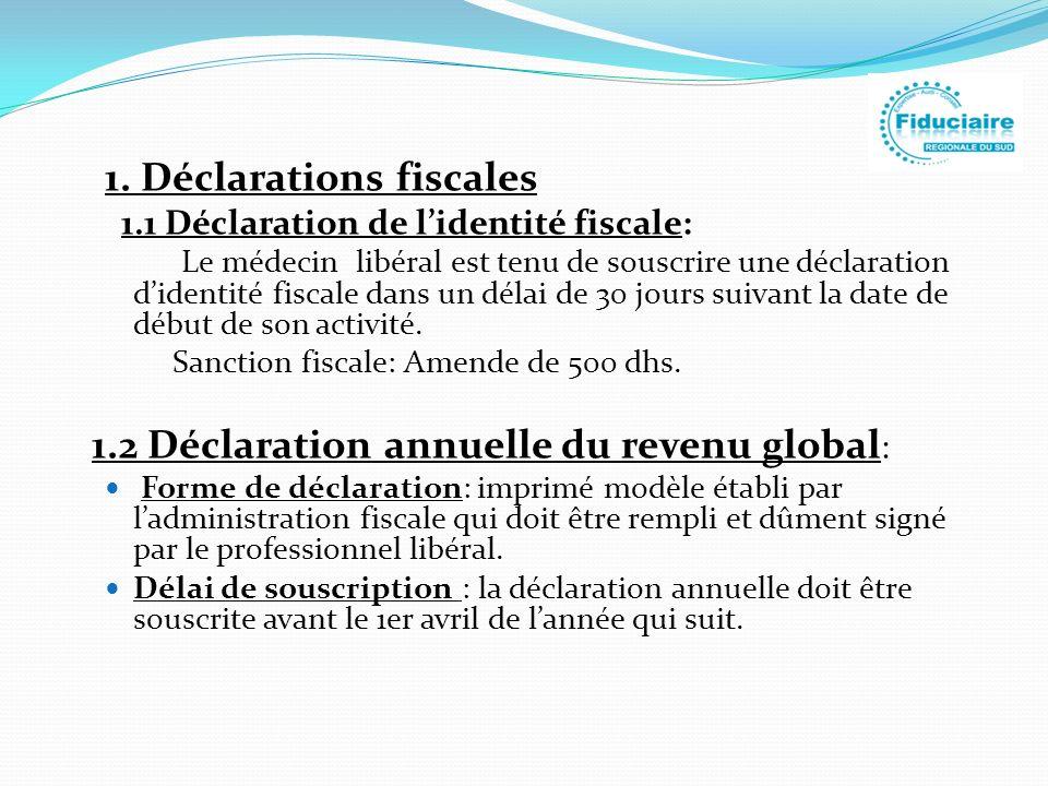 1. Déclarations fiscales 1.1 Déclaration de lidentité fiscale: Le médecin libéral est tenu de souscrire une déclaration didentité fiscale dans un déla