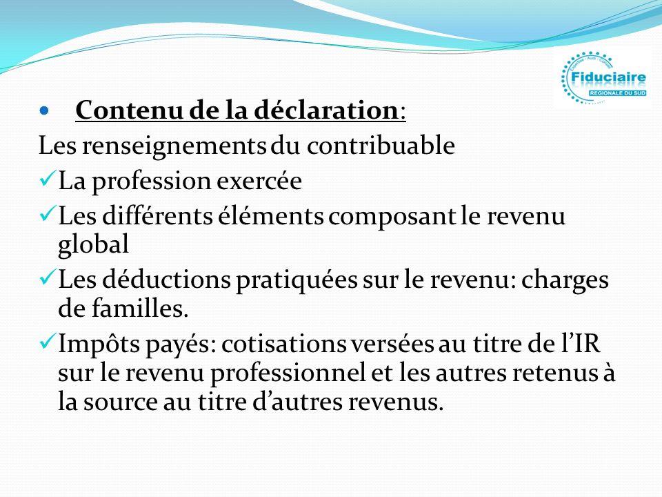 Contenu de la déclaration: Les renseignements du contribuable La profession exercée Les différents éléments composant le revenu global Les déductions