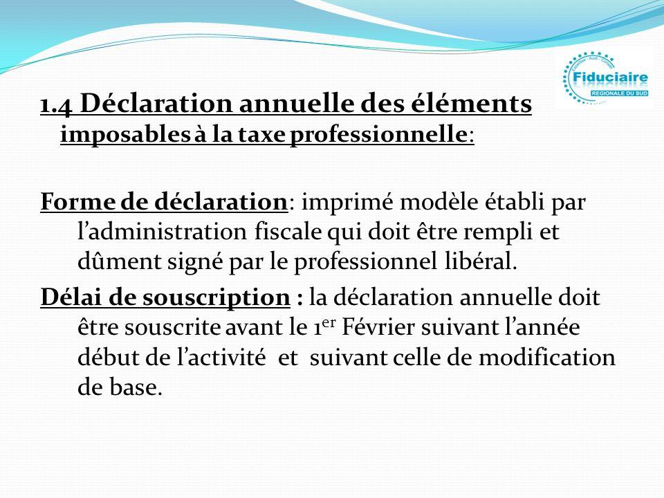 1.4 Déclaration annuelle des éléments imposables à la taxe professionnelle: Forme de déclaration: imprimé modèle établi par ladministration fiscale qu