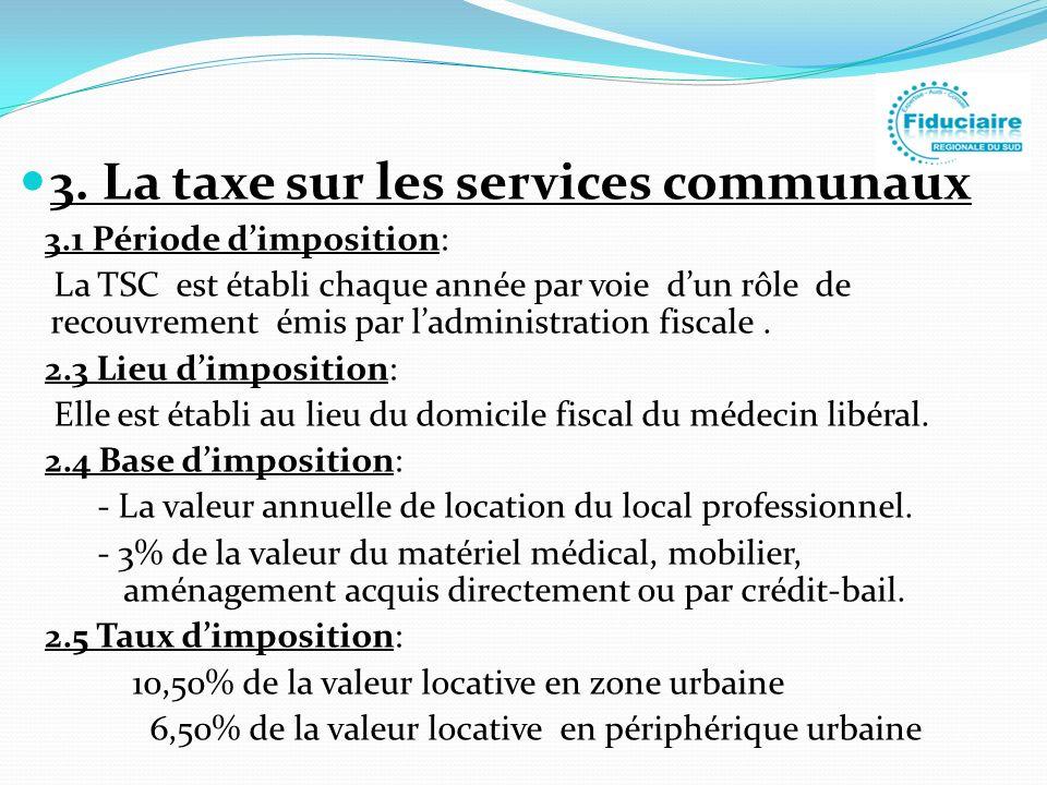 3. La taxe sur les services communaux 3.1 Période dimposition: La TSC est établi chaque année par voie dun rôle de recouvrement émis par ladministrati