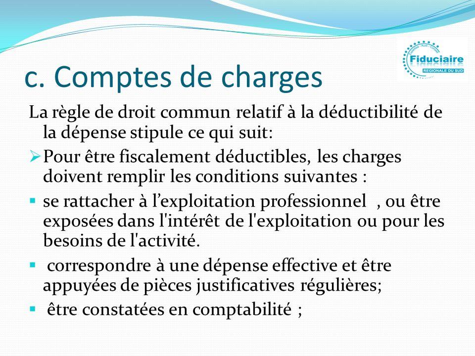 c. Comptes de charges La règle de droit commun relatif à la déductibilité de la dépense stipule ce qui suit: Pour être fiscalement déductibles, les ch
